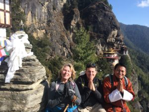 Jeff & I hiking back from Tiger's Nest with one of our guides Jigme!